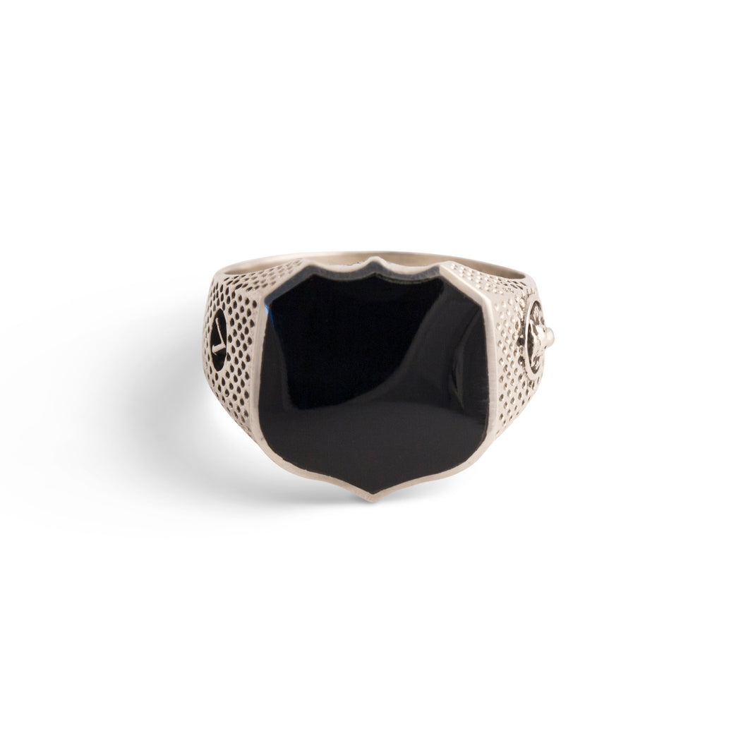 Signet Ring with Black Onyx in Sterling Silver