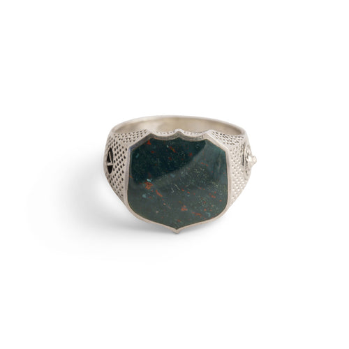 Heirloom Signet Ring with Blood Stone in Sterling Silver