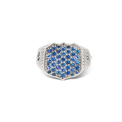 Heirloom Signet Ring with Pave Sapphires in Sterling Silver