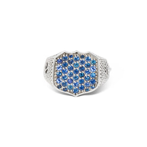 Signet Ring with Pave Sapphires in Sterling Silver