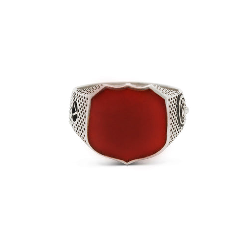 Heirloom Signet Ring with Carnelian in Sterling Silver