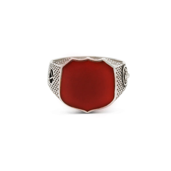 Heirloom Collection Signet Ring with Carnelian in Sterling Silver