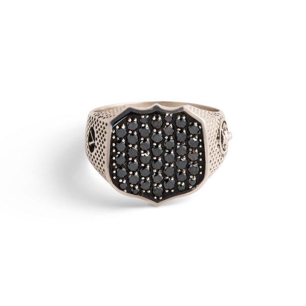 Heirloom Signet Ring with Pave Black Diamonds in Sterling Silver