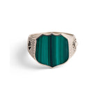 Heirloom Signet Ring with Malachite in Sterling Silver