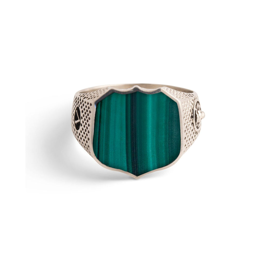 Signet Ring with Malachite in Sterling Silver