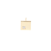 Stud Earrings Square in 18k Gold with Burnished Princess Cut Diamond