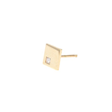 Load image into Gallery viewer, Stud Earrings Square in 18k Gold with Burnished Princess Cut Diamond - Nicolas Ambrosio