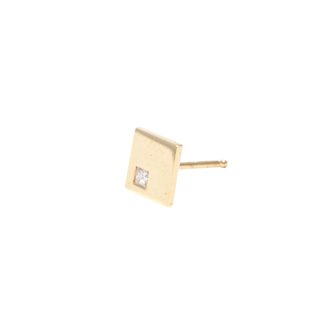 Stud Earrings Square in 18k Gold with Burnished Princess Cut Diamond - Nicolas Ambrosio
