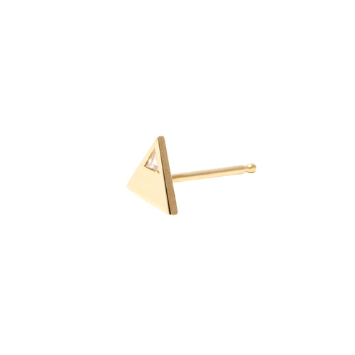 Stud Earrings Triangular in 18k Gold with Burnished Trillion Cut Diamond - Nicolas Ambrosio