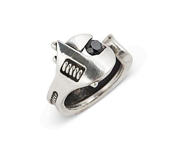 Spanner Wrench adjustable Ring Sterling Silver Brass Black Diamond - Nicolas Ambrosio