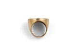 Signet Ring Brass and Sterling Silver NYC Manhole Cover