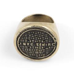 Signet Ring Brass and Sterling Silver NYC Sewer Manhole Cover