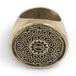 NYC Manhole Cover Signet Ring Brass and Sterling Silver