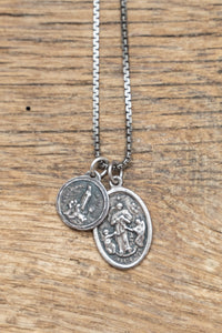 Fatima Black Sterling Silver two Medal Necklace. - Nicolas Ambrosio