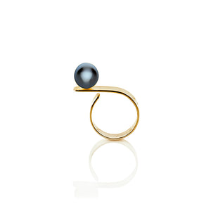 Equilibrium Over the Top Cultured Pearl Ring in Sterling Silver 22k Gold - Nicolas Ambrosio