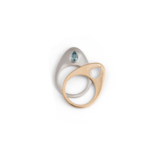 Engagement Stacking Rings with Aquamarine Yellow and White Gold - Nicolas Ambrosio