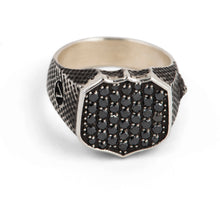 Load image into Gallery viewer, Signet Ring with Pave Black Diamonds in Sterling Silver
