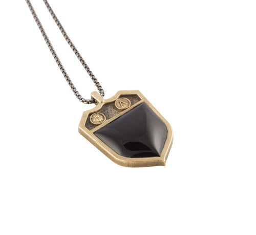 Heirloom Shield Signet Necklace Sterling Silver or 14k Gold Black Onyx Bloodstone Malaquite Carnelian - Nicolas Ambrosio