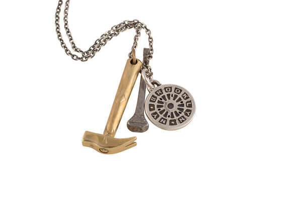 Hammer Necklace & NYC Manhole Cover Medal Sterling Silver LinkChain