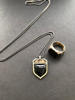 Signet Charm Necklace with Black Onyx or Blood Stone. Heirloom Collection