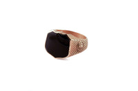 Signet Ring with Black Onyx in 14k Solid Yellow Gold
