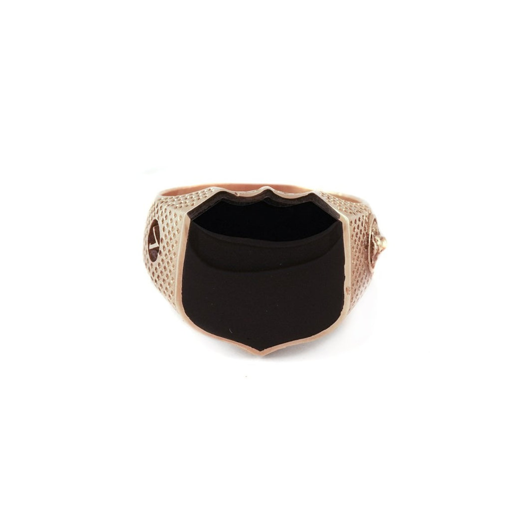 Heirloom Signet Ring with Black Onyx 22k Solid Yellow Gold - Nicolas Ambrosio