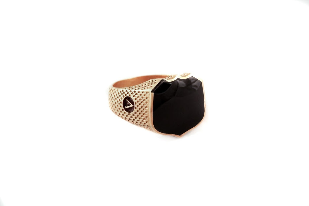 Signet Ring with Black Onyx 22k Yellow Gold