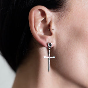 Sword Earring Black Sterling Silver