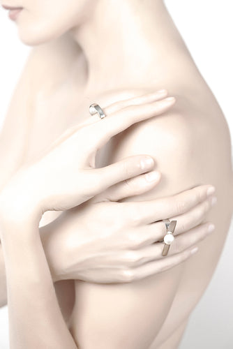 Equilibrium Embrace Cultured Pearl Ring in Sterling Silver or 22k Gold - Nicolas Ambrosio
