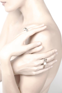 Equilibrium Inner Balance Cultured Pearl Ring in Sterling Silver 22k Gold
