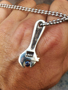 Wrench Pendant Necklace in Sterling Silver with Sapphire, Ruby, Emerald, or Black Diamond Gem