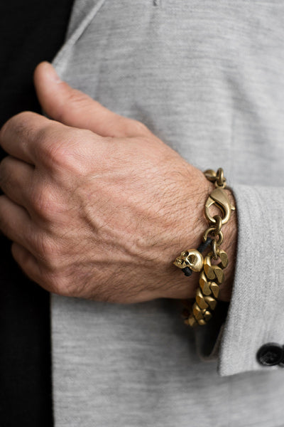 Italian Cuban-link Skull Chain Bracelet in Pure Brass
