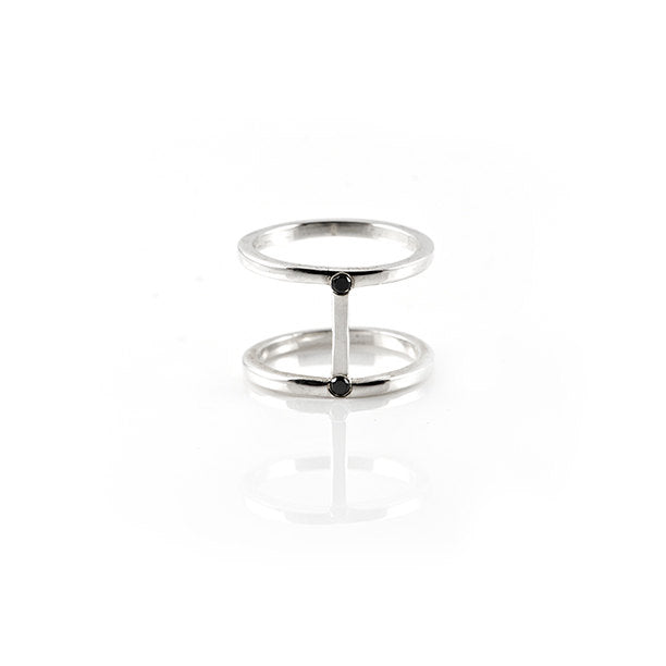 Core Ring Sterling Silver Black Diamonds