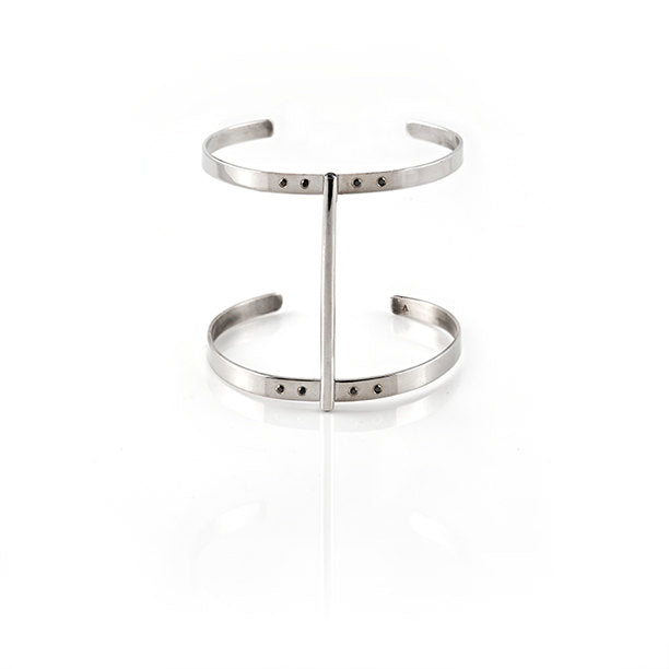 Core Tube Double Cuff Bracelet in Sterling Silver with Black Diamonds