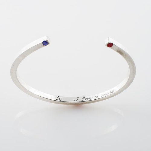 Cuff Bracelet in Recycled Sterling Silver with Your Choice of Embedded Jewel - Nicolas Ambrosio