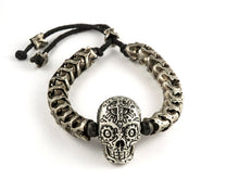 Load image into Gallery viewer, Dia de Los Muertos Vertebrae & Skull Bracelet, Cast in German Silver