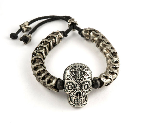 "Vertebrae Bracelet with Skull. Mexican Skull typically used in the Dia de los muertos"" Casted in german Silver"