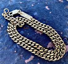 Load image into Gallery viewer, Tag Double Chain Bracelet Cuban Link Sterling Silver Antique Gold Vintage - Nicolas Ambrosio