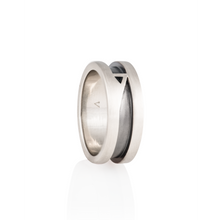 Load image into Gallery viewer, Roberto Wedding Ring 14k White Gold & Black Onyx - Nicolas Ambrosio
