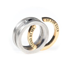 Load image into Gallery viewer, Interlock Groom Wedding Set 22k Yellow Gold Black Diamond - Nicolas Ambrosio