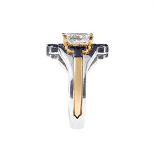 Load image into Gallery viewer, Yunico Interlock Engagement & Wedding Ring 22K White & Yellow Gold, 2 carat Princess cut Diamond, Black Diamonds