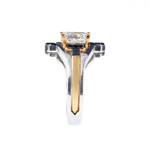 Wedding Engagement Ring 3 carat 22K White & Yellow Gold 3 carat Princess Black Diamonds - Nicolas Ambrosio