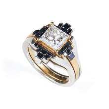 Load image into Gallery viewer, Wedding Engagement Ring 3 carat 22K White & Yellow Gold 3 carat Princess Black Diamonds - Nicolas Ambrosio