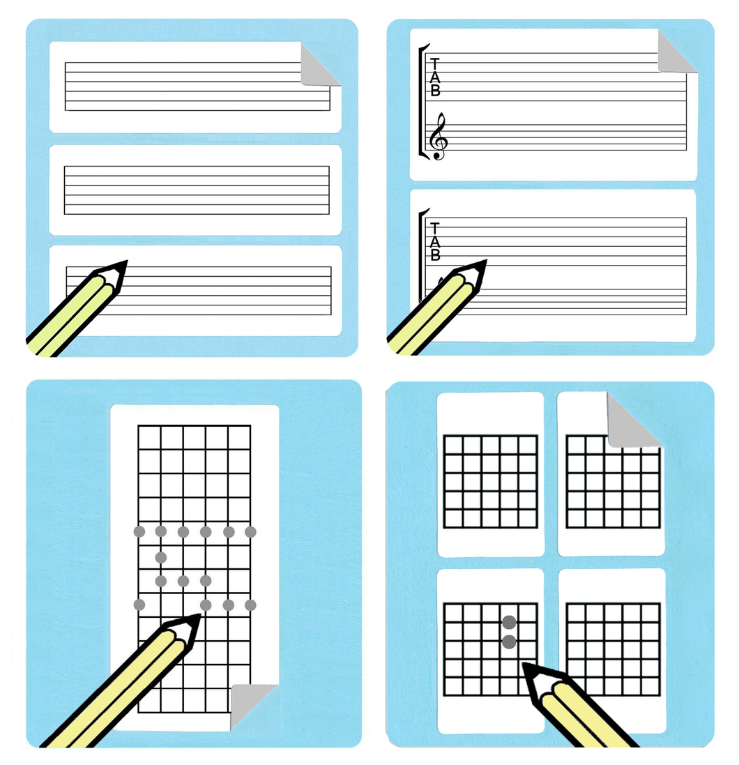 Guitar Teacher Chord / Tablature / Fretboard Diagram Stickers Gift Pack