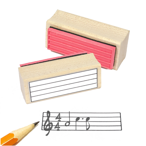 Music Ossia Staff Rubber Stamp