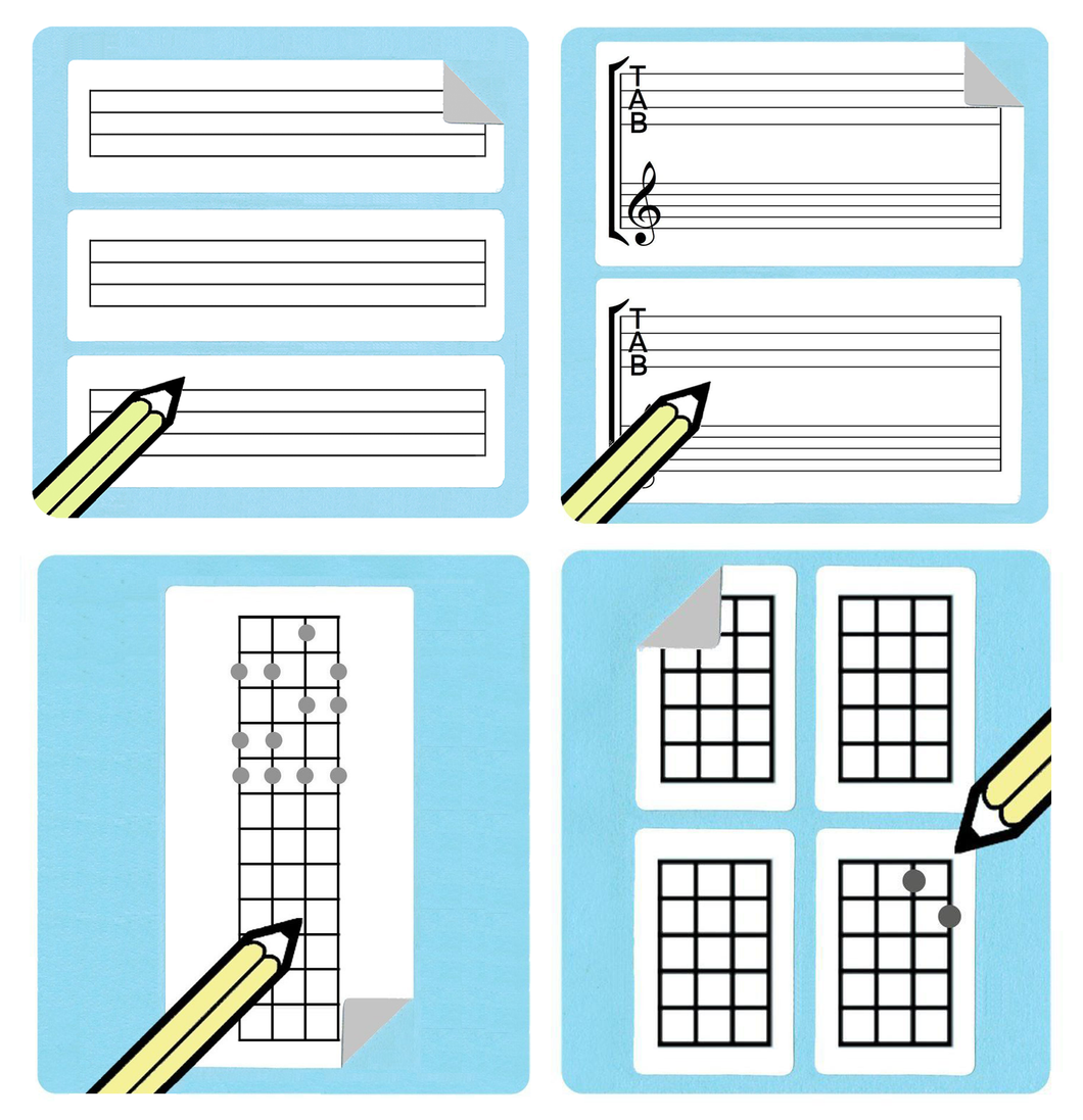 Ukulele and Bass Chord / Tablature / Fretboard Diagram Stickers Gift Pack.
