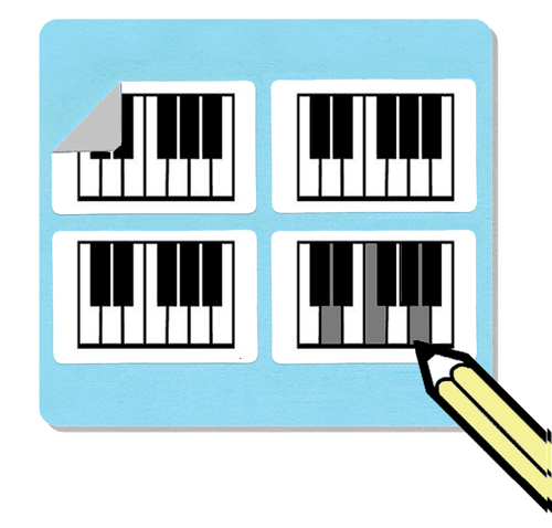 Filled Mini Piano Diagram Stickers (Free Shipping!)
