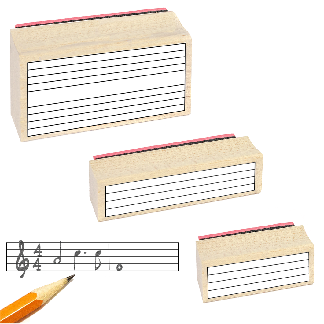 Music Staff Rubber Stamp Gift Pack. (3 Useful Rubber Stamps and Black Stamp Pad)