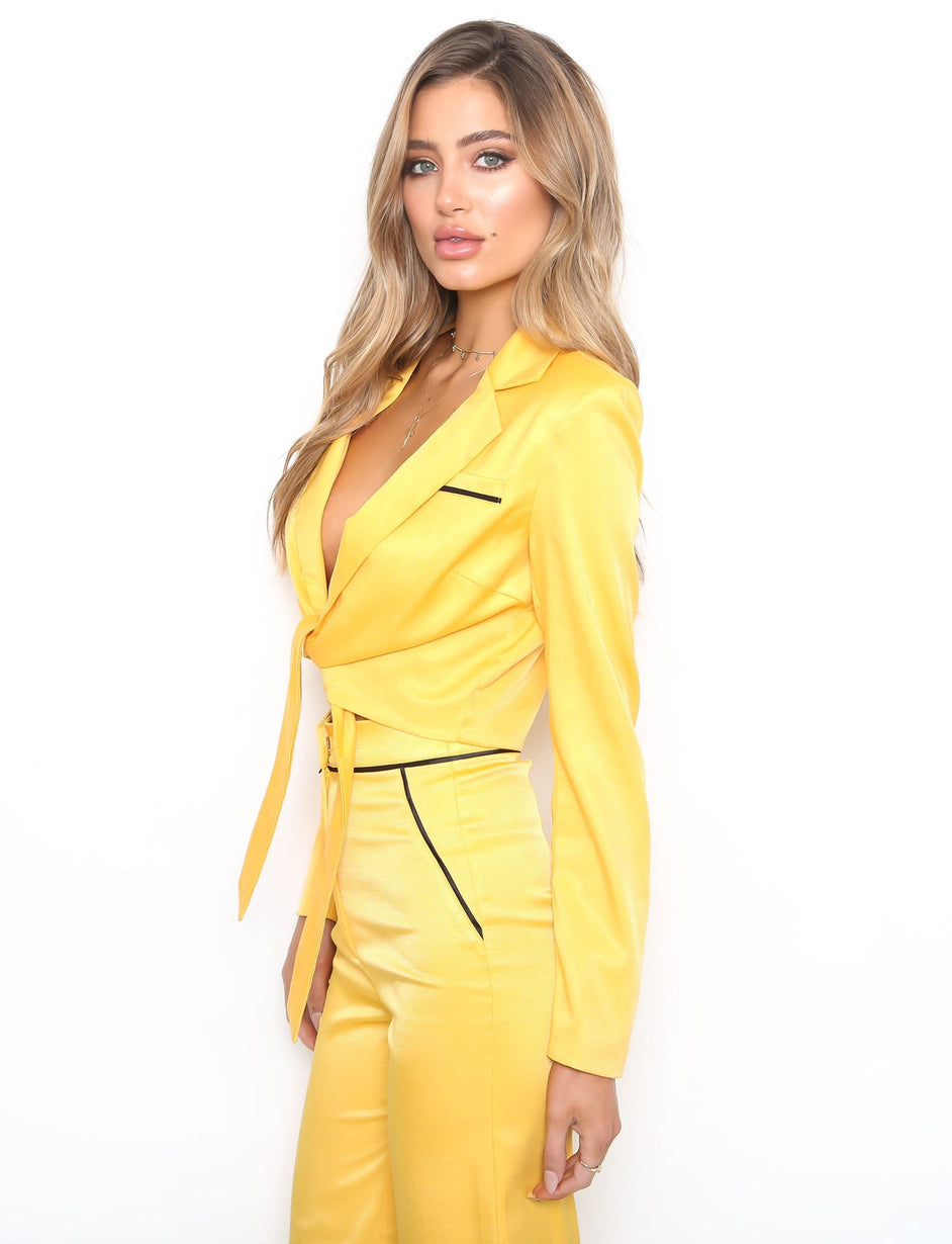Saisha Crop Blazer - Yellow