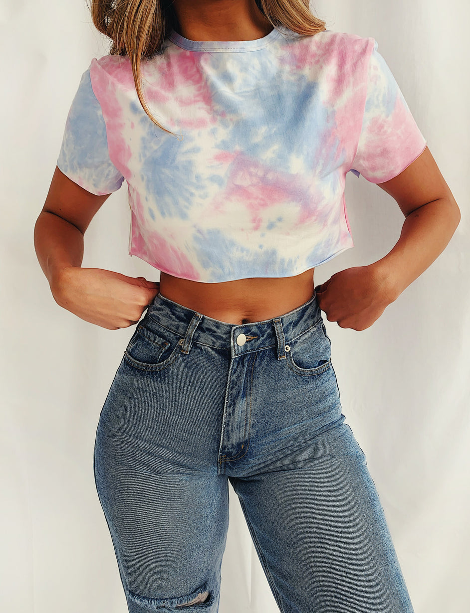Jaguar Cropped Tee - Blue/Pink
